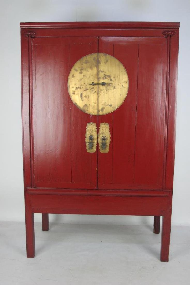 Red Chinese Cabinet with Brass