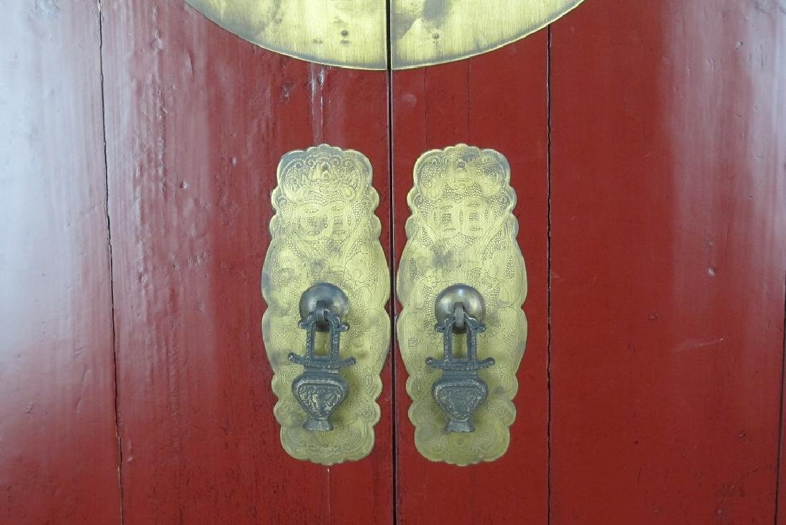 Red Chinese Cabinet with Brass - 3