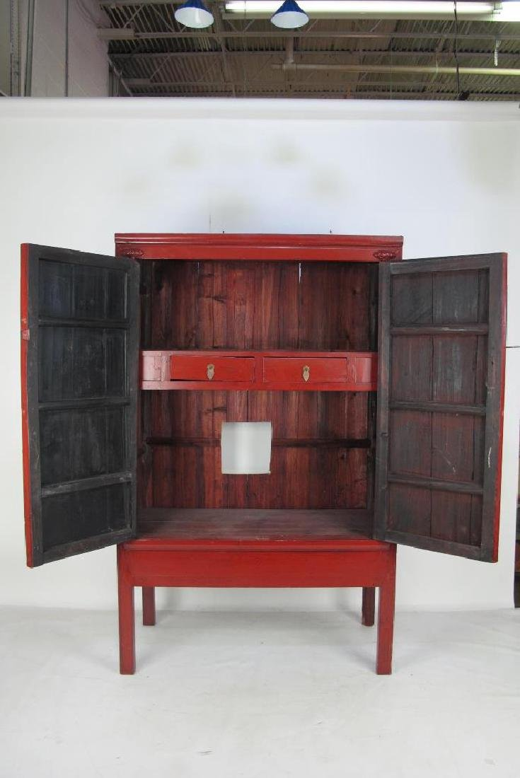 Red Chinese Cabinet with Brass - 4