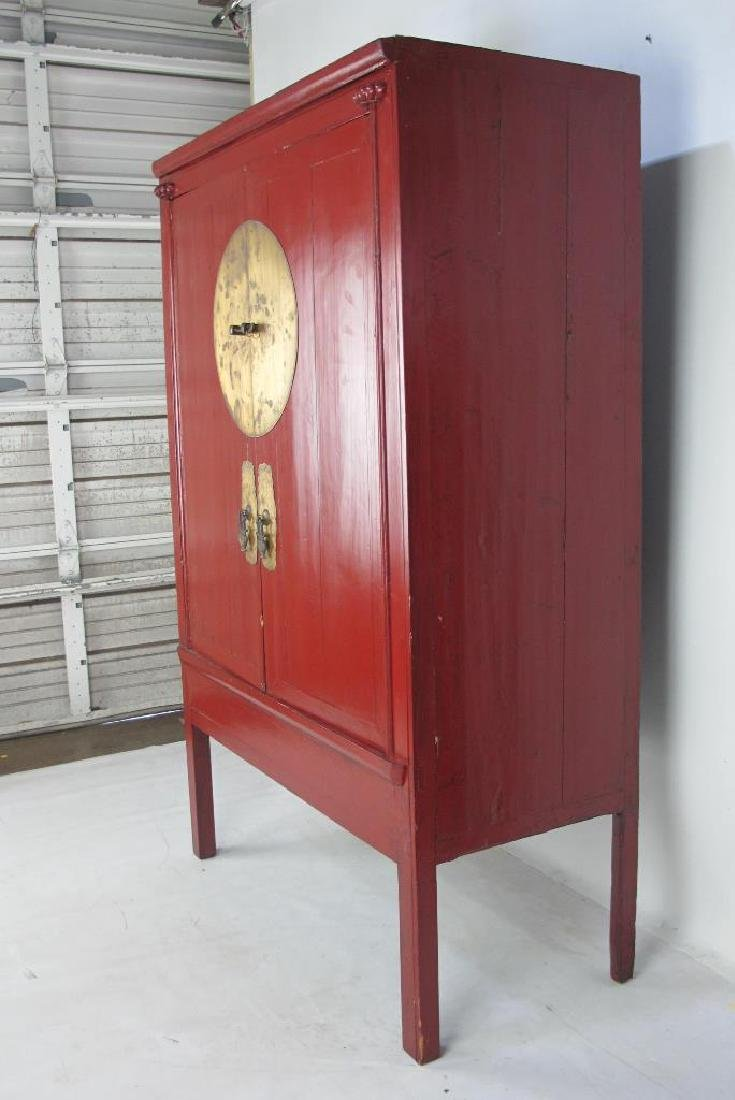 Red Chinese Cabinet with Brass - 8