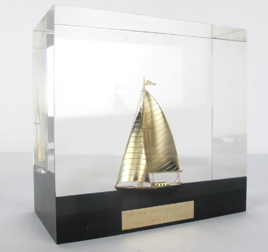 Golden Cruising Yacht Decorative Piece
