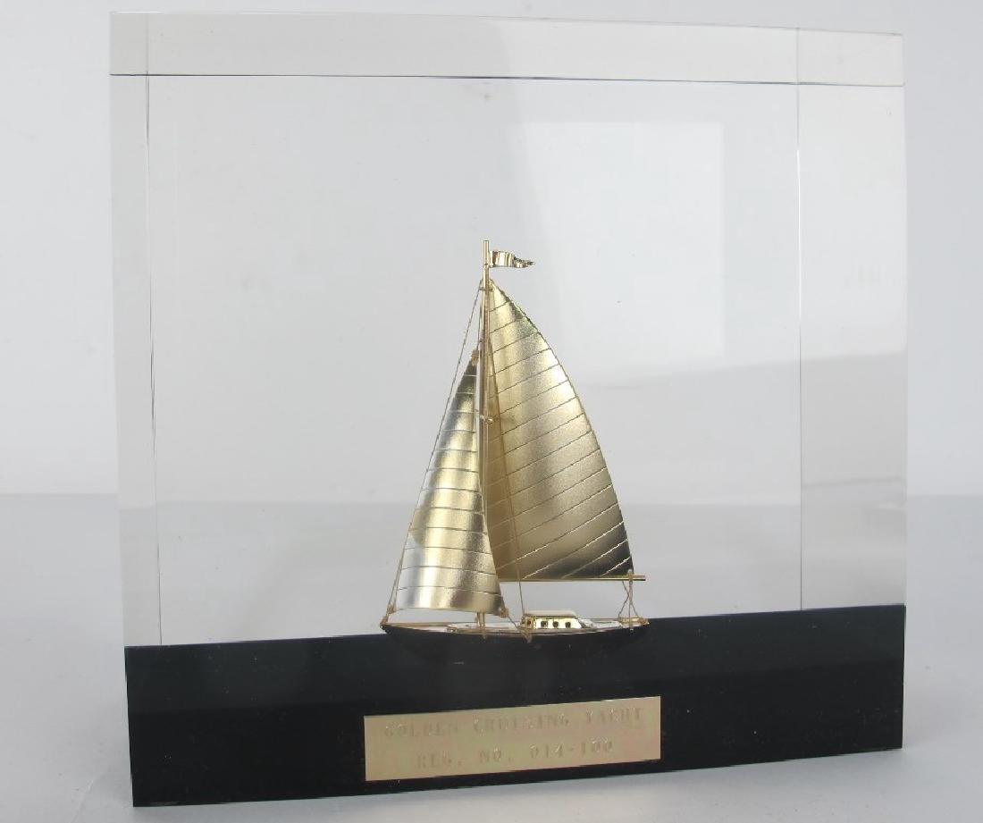 Golden Cruising Yacht Decorative Piece - 2