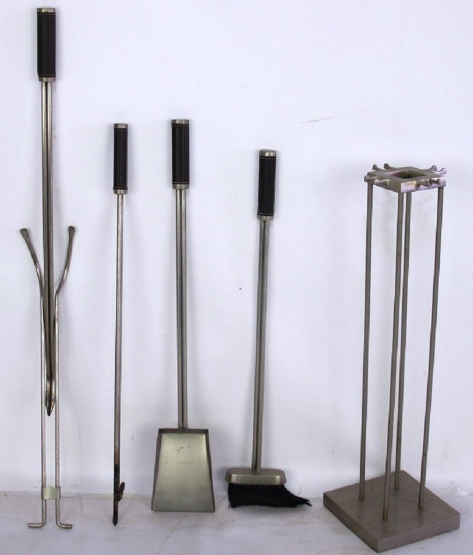 Set of Modern Steel and Leather Fire Tools - 2