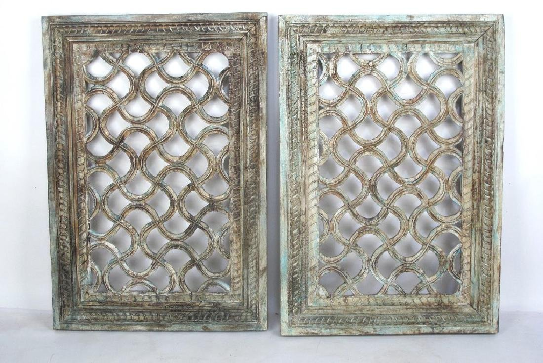 Pair of Painted Window Panels