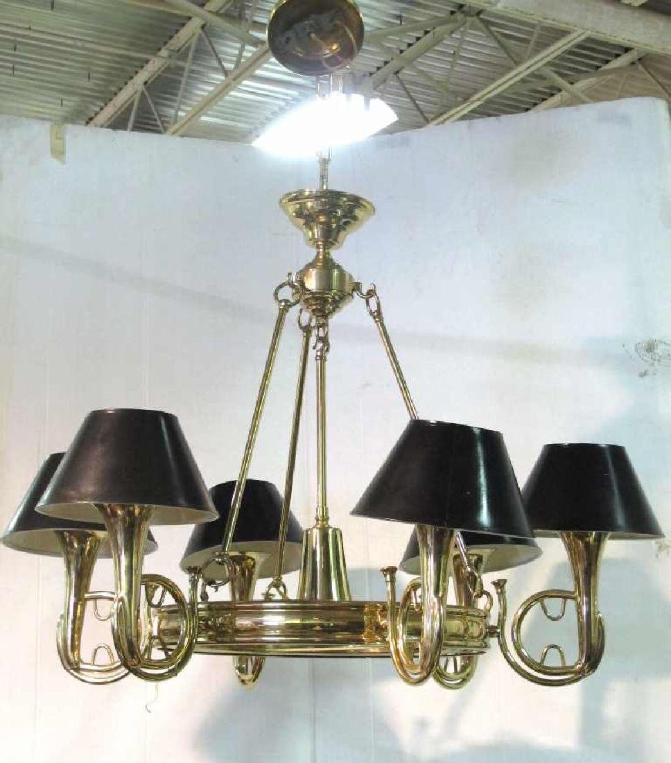Brass Chandelier with Trumpet Arms