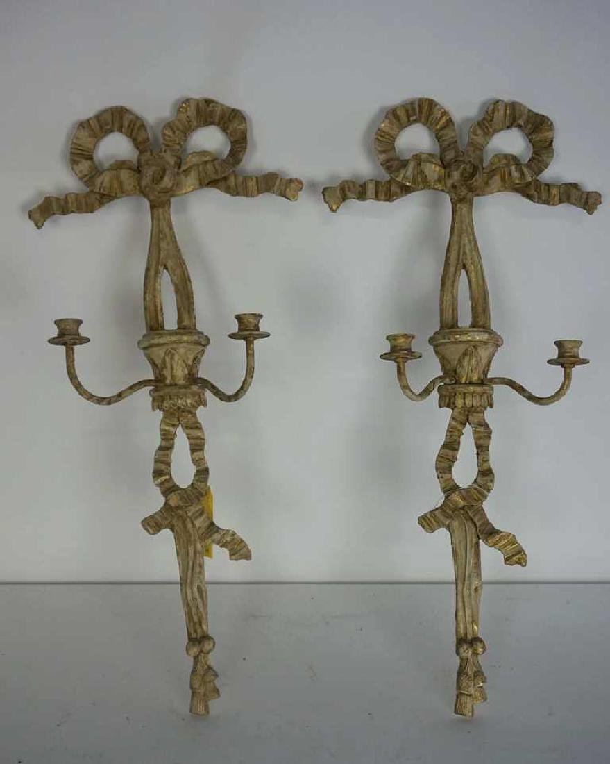 Pair of Carved Candle Sconces