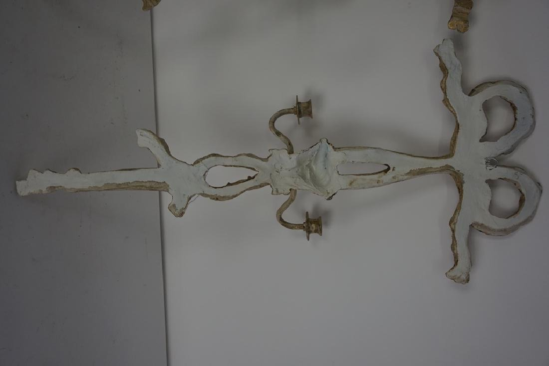 Pair of Carved Candle Sconces - 5