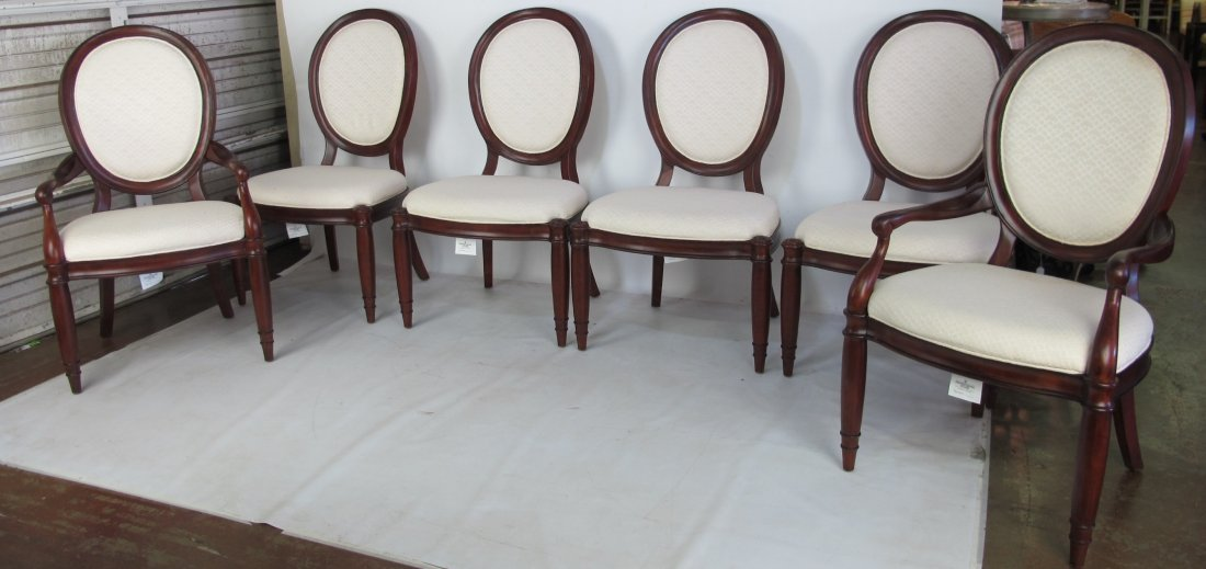 Set of 6 White Upholstered Chairs