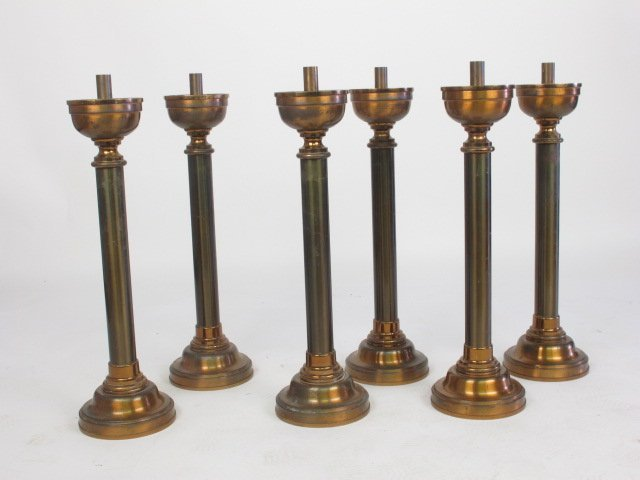 Six Brass Cathedral Candle Sticks