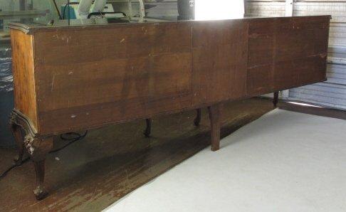 Large Glass Top Burlwood Sideboard - 9