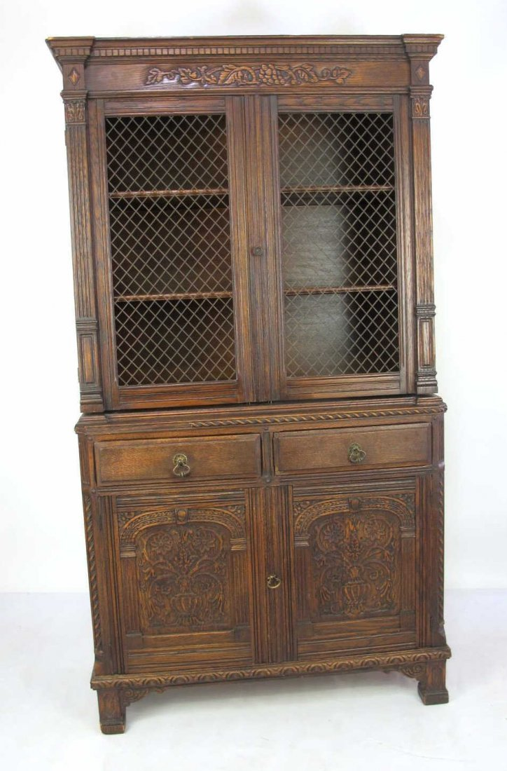 China Cabinet with Carved Detail