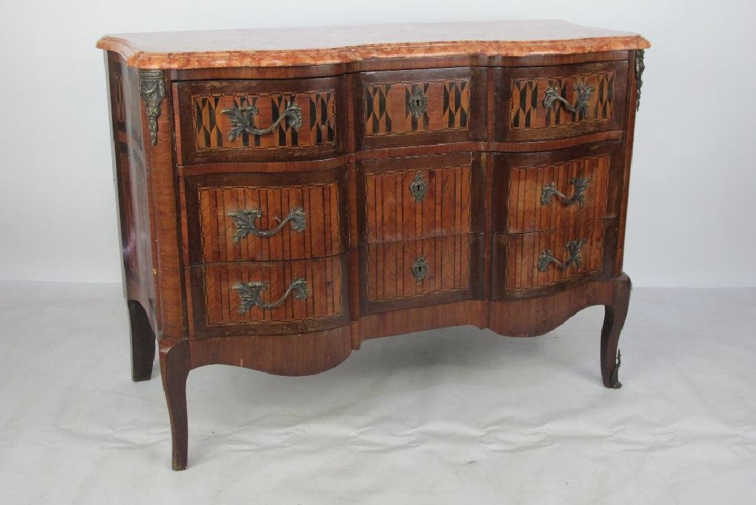 3 Drawer French Parquetry Marble Top Commode