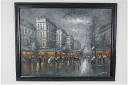 Oil on Canvas of Paris Street Scene