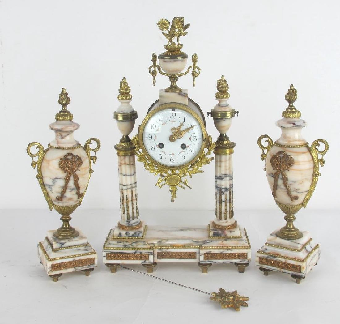 Fine French Gilt Bronze and Marble Clock Set