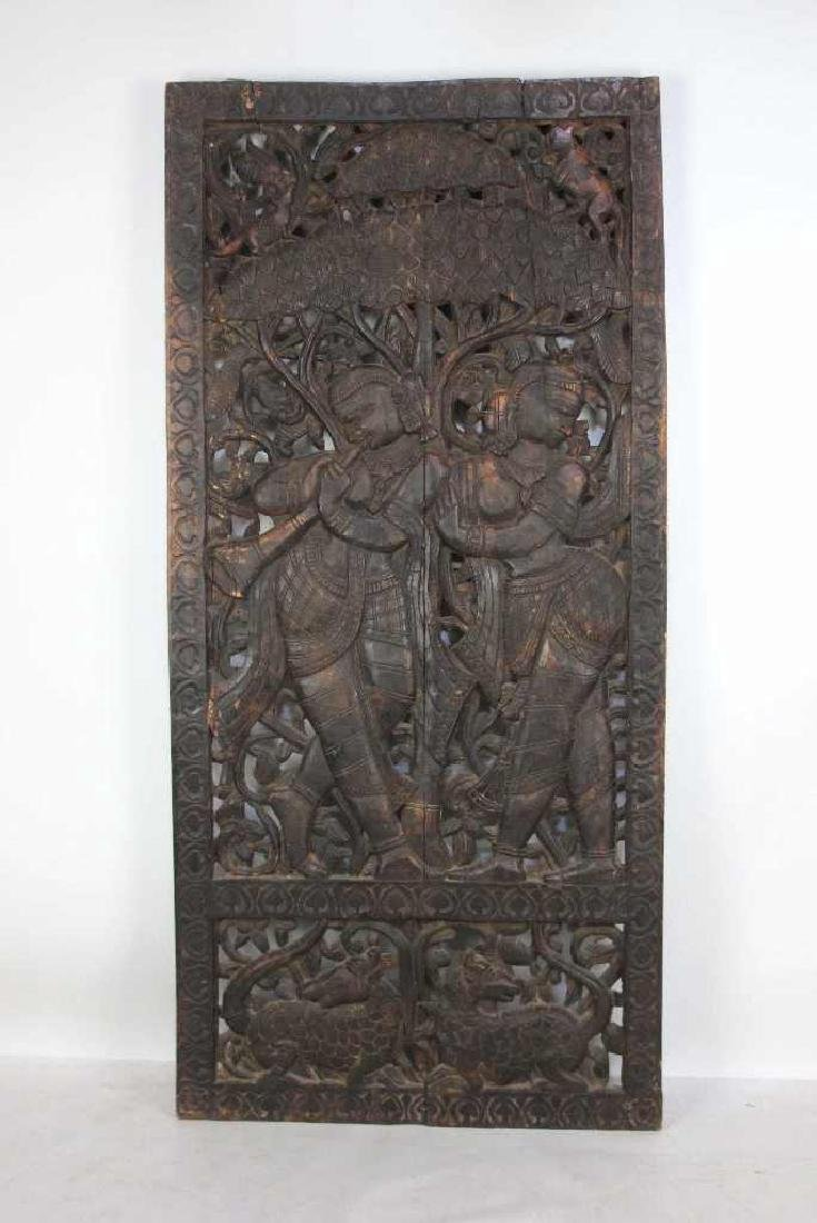 Carved Wood Tibetan Panel