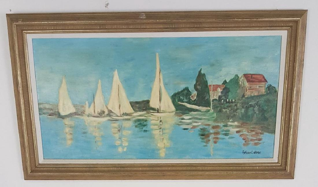 Oil on Canvas Boating Scene