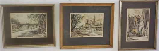 Trio of Pierre E. Cambier (1914-2000) Watercolors