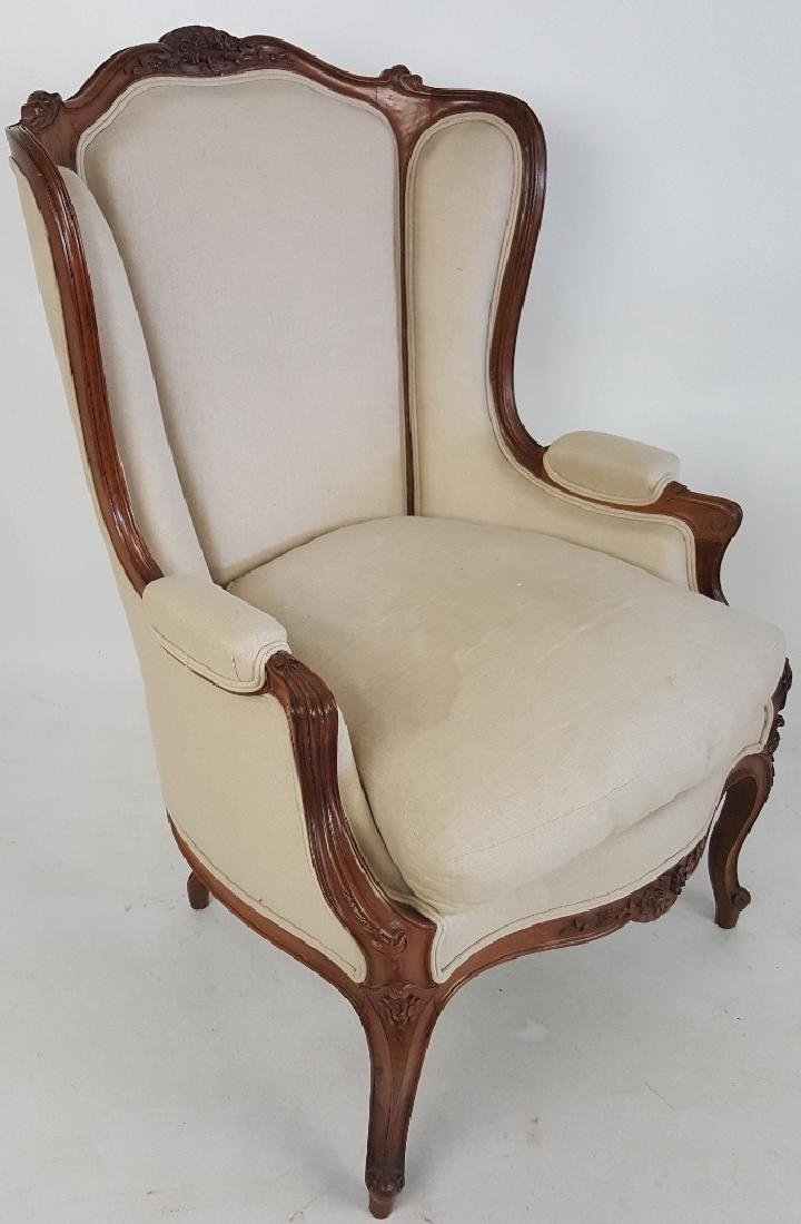 Provincial Style Arm Chair with Beige Upholstery
