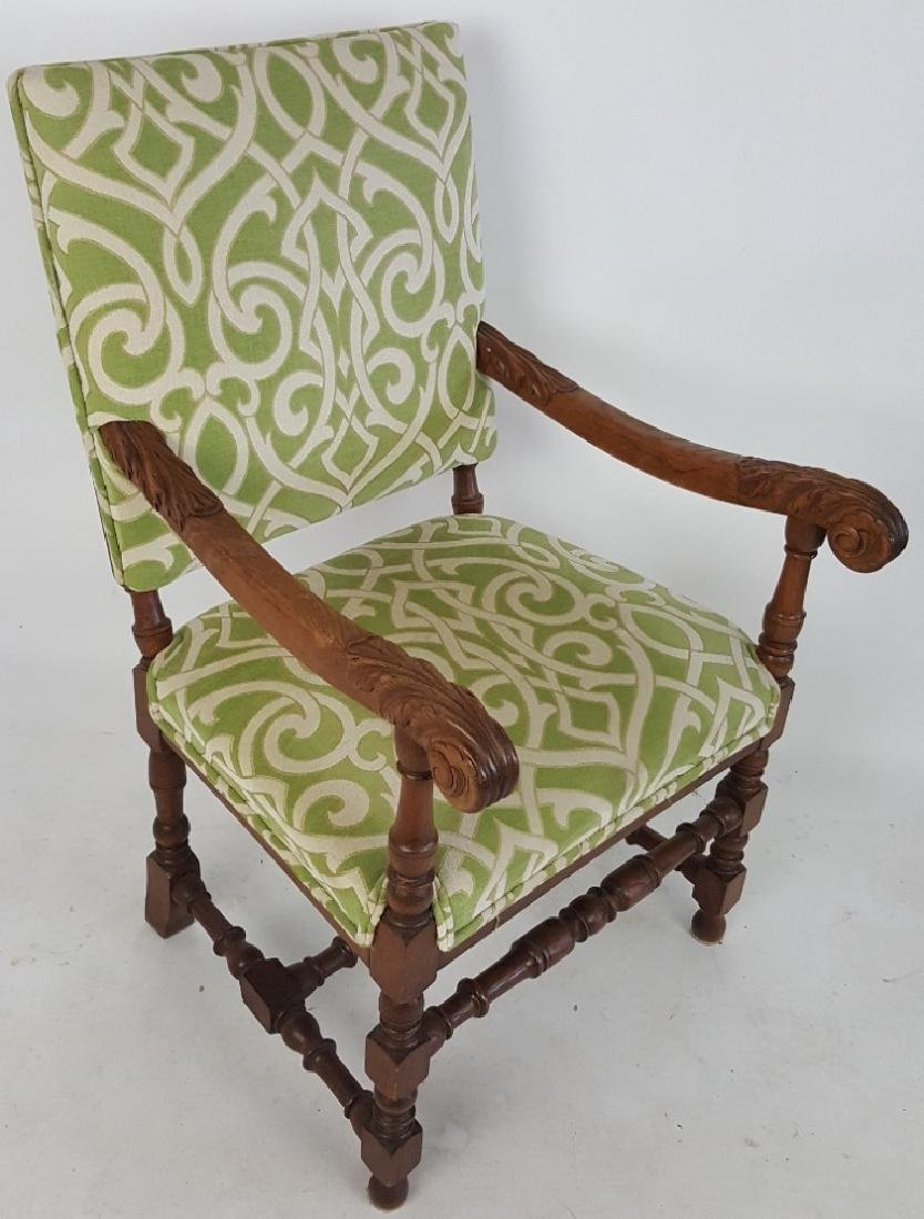 Arm Chair with Green Upholstery