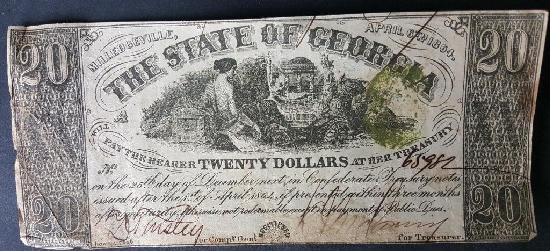 Group of 1864 Milledgeville Confederate $20 Bills