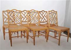 Set of 6 Faux Bamboo Side Chairs