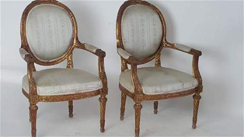 Pair of White French Arm Chairs
