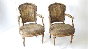 Pair of French Needlepoint Armchairs