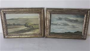 Pair of Oil on Panel Landscape Paintings