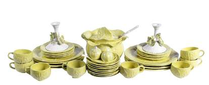 Set for 8 Yellow Cabbage Majolica