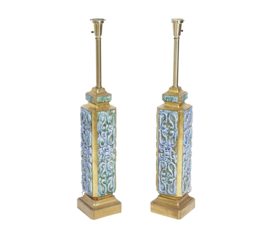 Pair 70's Turquoise Lamps
