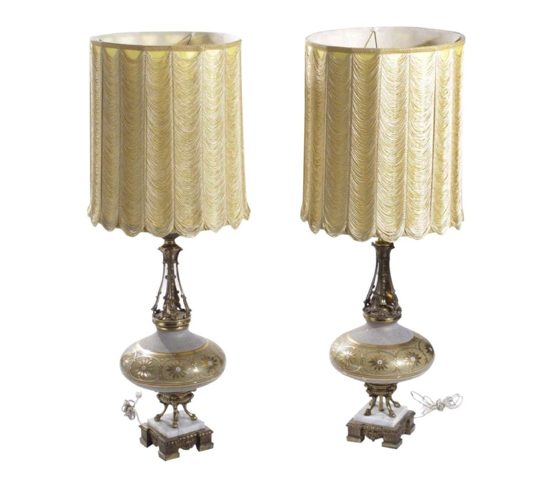 Pair of Ornate Gilt Metal and Glass Table Lamps