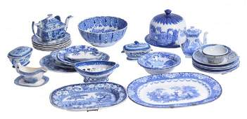 Large Lot of  Antique Blue and White Ceramics