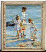 Oil on Canvas Beach Scene, Prob. American