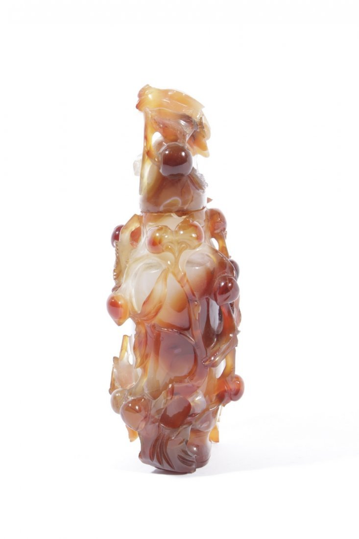 Fine Chinese Carved Agate Bottle - 4