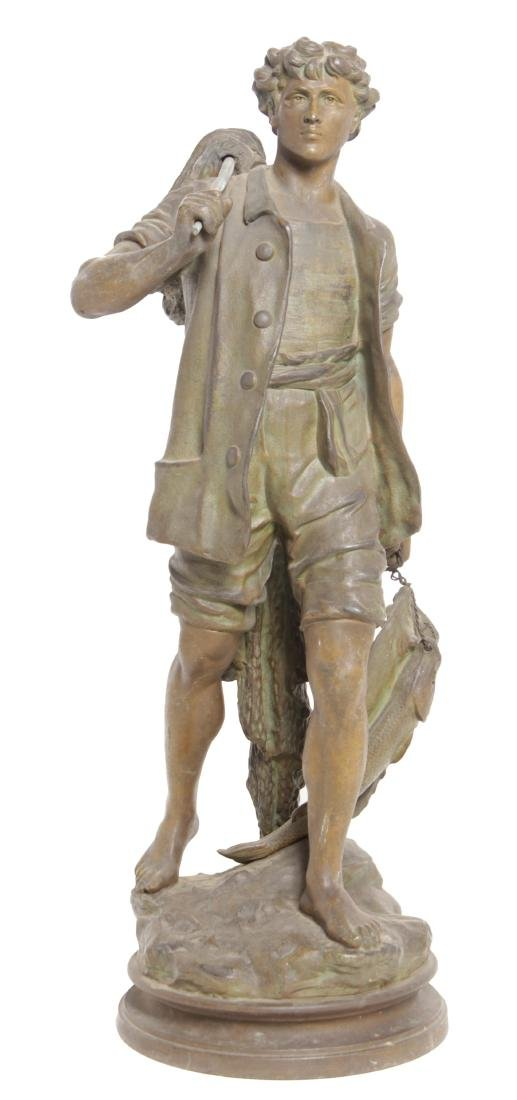 19th C Spelter Sculpture of Fisherman