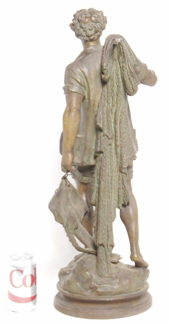 19th C Spelter Sculpture of Fisherman - 7