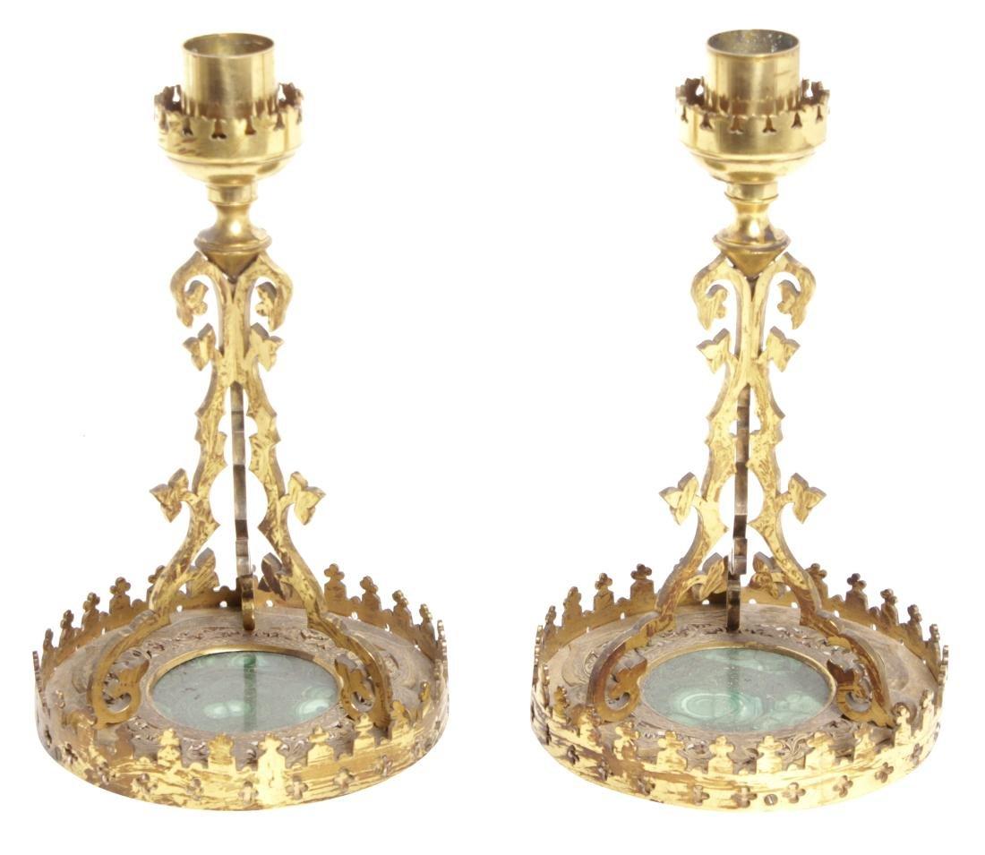 Pair Gilt Bronze & Malachite Candlesticks