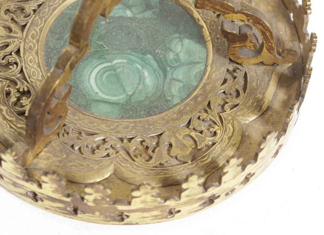 Pair Gilt Bronze & Malachite Candlesticks - 5