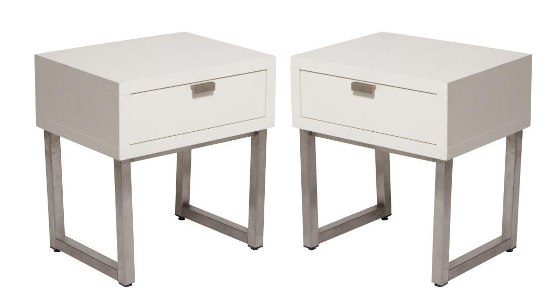 Pair of White Lacquer one Drawer in Tables