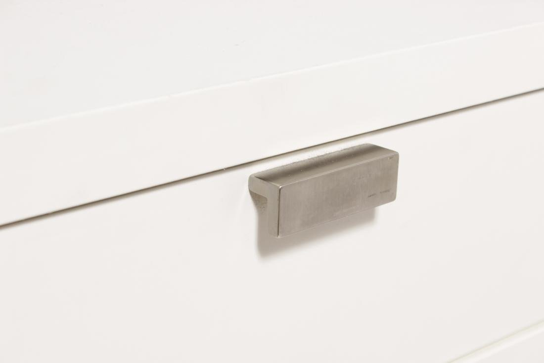 Pair of White Lacquer one Drawer in Tables - 2