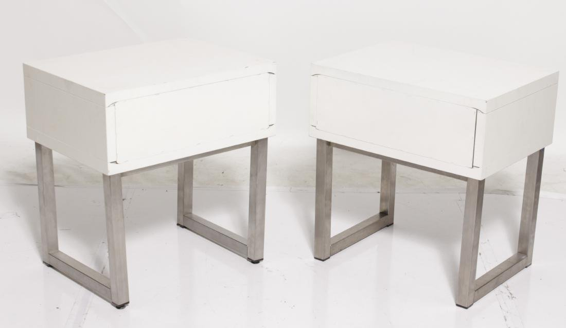Pair of White Lacquer one Drawer in Tables - 6
