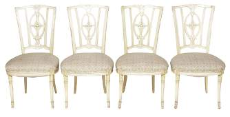 Set Four Decorator Painted Dining  Chairs