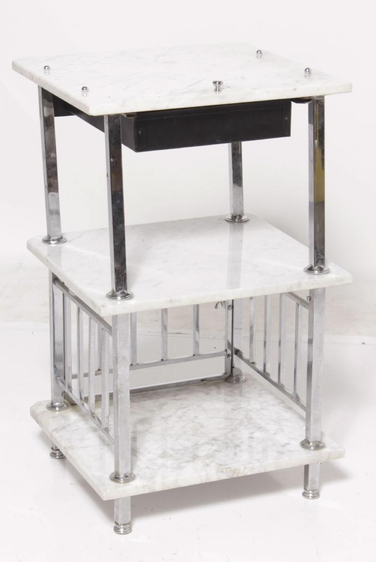 Art Deco Style Chrome & Marble Bathroom Stand - 6
