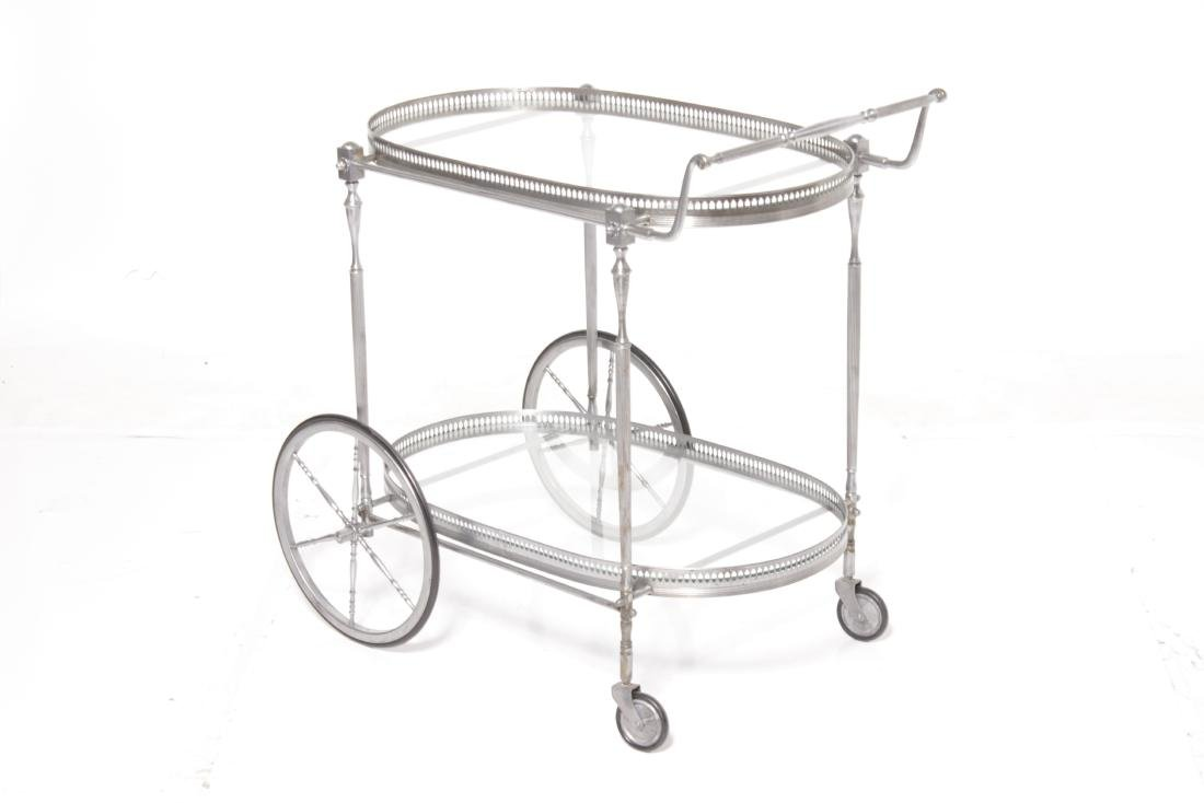 Mid C Steel Polished Bar cart