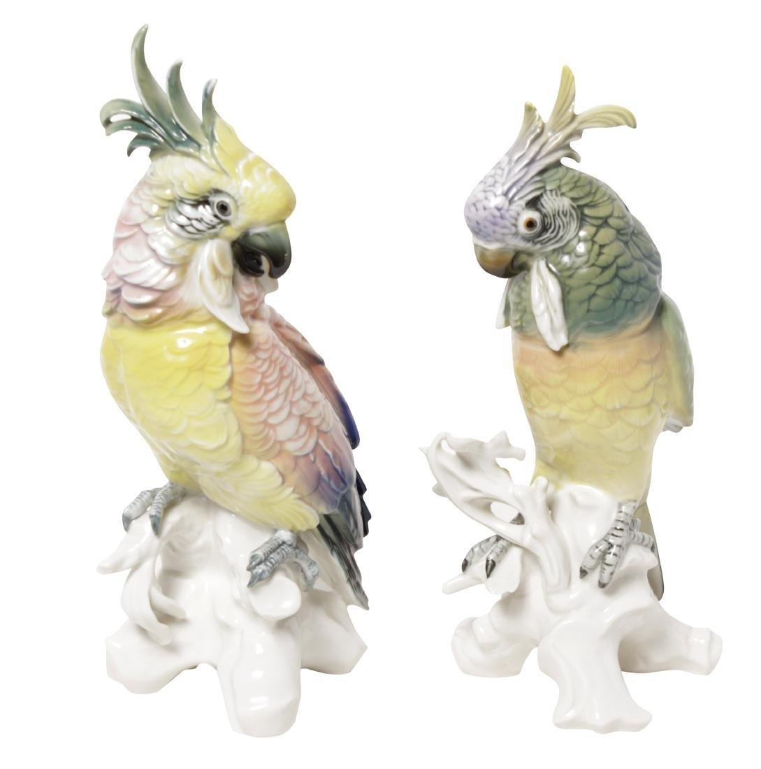 Pair of 'Karl Ens' Porcelain Parrots