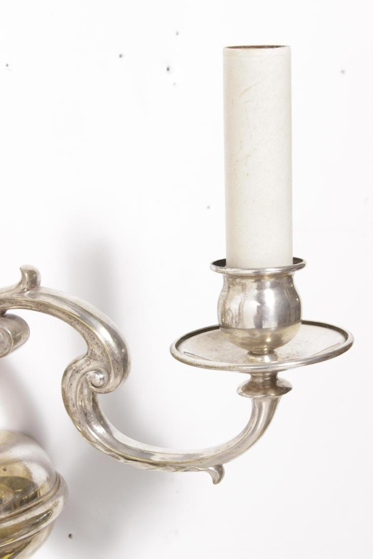 Pair Silver Plated Bronze Sconces - 4