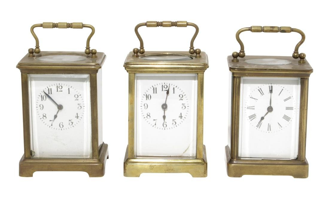 Three Brass Carriage Clocks