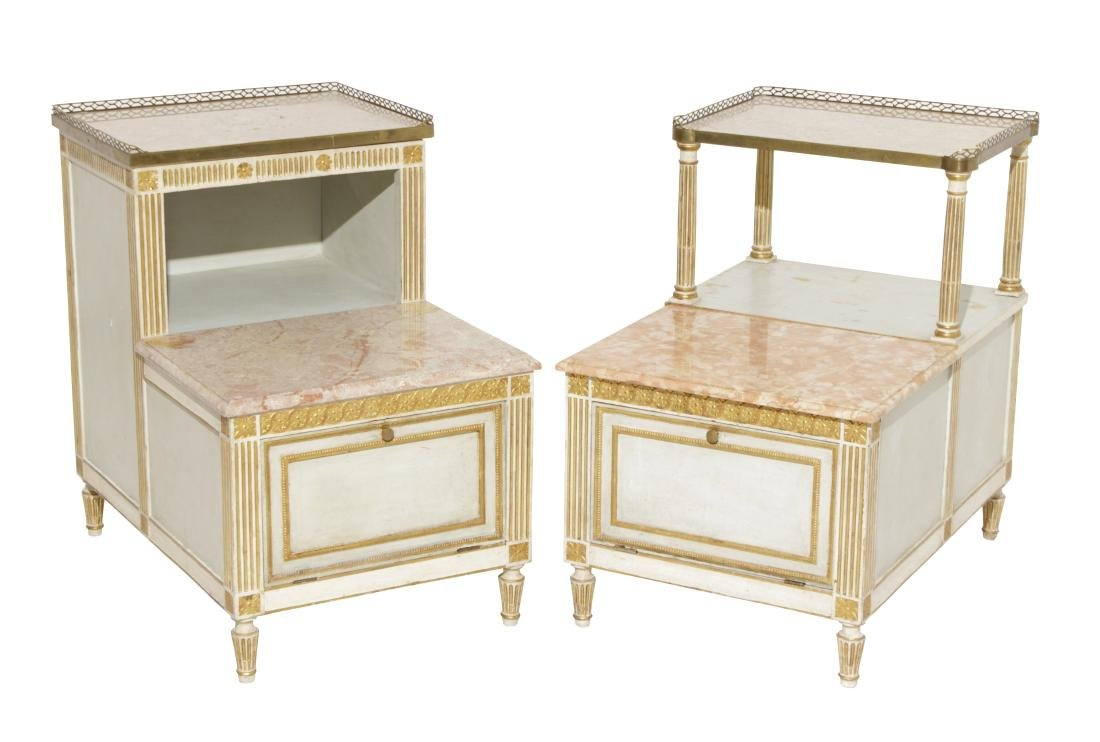 Two Louis XVI Style Painted Step Tables