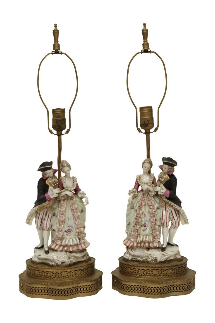 Pair of Porcelain Figural Lamps
