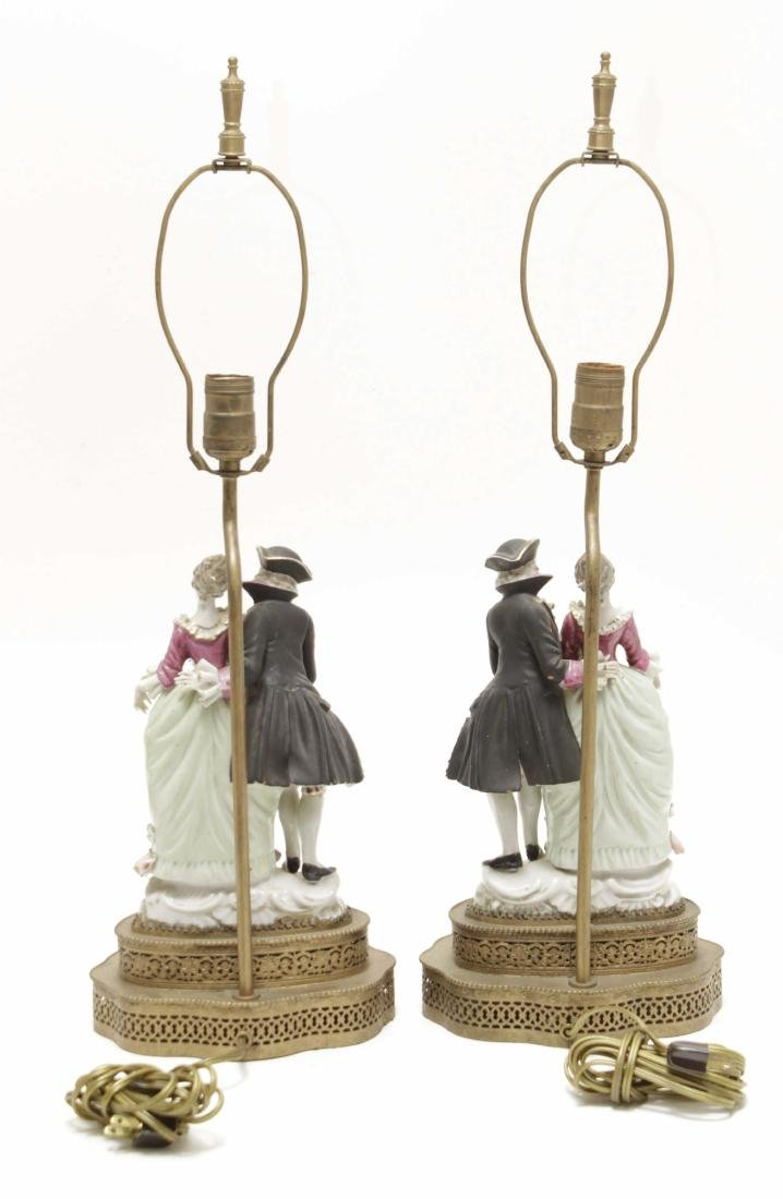 Pair of Porcelain Figural Lamps - 7
